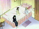 The girls in Tohru's bedroom enjoying the new frilly bed